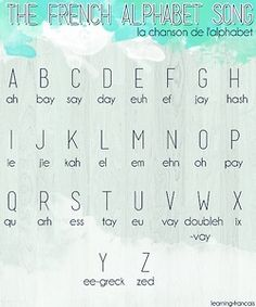 pretty french alphabet Click the picture to hear the tune I learnt. (I still remember it so it must be good.) Knowing the names of the letters is useful if you ever need to spell something (like your odd, non-French, name ; French Language Lessons, French Language Learning, French Lessons, German Language, Spanish Lessons, Japanese Language, Spanish Language, French Songs, French Phrases