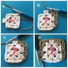 Part 3 -  Grannysquare Cat (USA terms) #grannysquarecat  9) SS the cat's main color into the lower right corner of the face, and Chain 3.  10) Next, 3DC in the side chain space, then 3DC, Ch2, 3DC into the top right corner space of the face.  11) The top white cluster already takes up the next space, so SS into the back loops only, across it. (3 slip stitches total) 12) 3DC, 2Ch, 3DC into the next corner space, then cluster of 3 DC into the side space. Now, do 1 DC only into the last (lower…