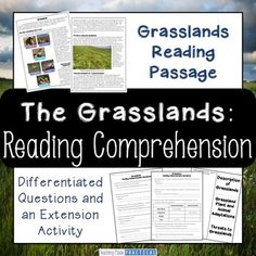 Grasslands Reading Comprehension: Students read a 2 page reading comprehension passage on grasslands, answer questions, and complete an extension activity. This is part of my Biomes Reading Comprehension Bundle.
