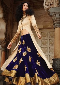 Beautiful Cream & Navy Blue #Lehenga Embellished In Zardosi. Only Available At Kalkifashion.com.