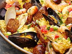Chicken and Seafood Paella Recipe : Guy Fieri : Food Network