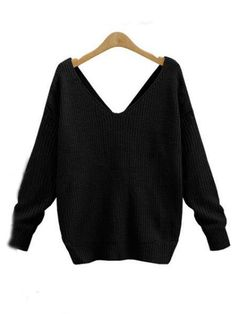 V-neck Knot Twisted Back Long Sleeve Sweater