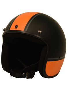 Sick Lid 3/4 Retro Orange Racing Stripe Motorcycle Helmet