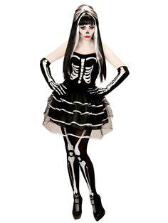 Déguisement squelette tutu bouffant femme Halloween : Ce déguisement est composé d'une robe et d'une paire de gants (collants, perruque et maquillage non inclus).Plutôt courte, la robe est entièrement noire avec...