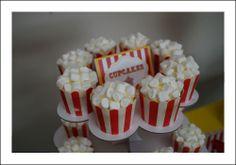 Circus Theme Boys Birthday Party-Popcorn cupcakes