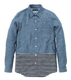 MR.GENTLEMAN -Chambray x border shirt