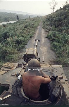 View along the turret of a US Army tank as it travels along Route 9 during the Operation Pegasus phase of the Battle of Khe Sanh, Vietnam, April 1968. Pegasus was an attempt to lift the siege from the US Marine base that had been under attack single January.