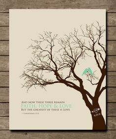 Custom 1st First Paper Anniversary Gift, 1 Corinthians 13:13 print, Lovebirds in Tree with Initials in heart, 8x10 Print. $20.00, via Etsy.
