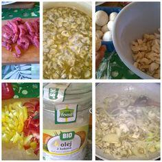 Strogonow by me:) kolejność- mięso, pieczarki, pieczarki+cebula, bulion, papryka, ogórek kiszony, ciut musztardy i przecieru pomidorowego. Done!