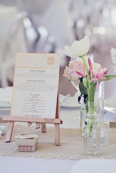 wedding menu holder had to share... too cute!