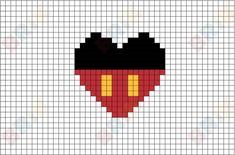 Manga Drawing Patterns Mickey Mouse Pixel Art - Pixel Pattern, Pattern Art, Mickey E Minie, Mickey Mouse, Pixel Art Mickey, Cross Stitching, Cross Stitch Embroidery, Pixel Drawing, Manga Drawing