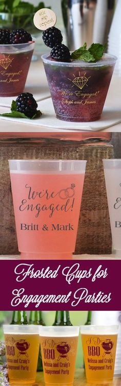 Toast the happy couple with custom printed engagement party cups Wedding Cups, Wedding Reception, Engagement Party Decorations, Personalized Cups, Plastic Cups, Party Cups, Frost, Couple, Printed