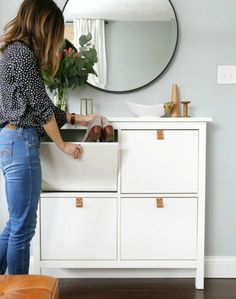 Ikea 'Hemnes' shoe cabinet hack with leather pulls Shoe Storage Solutions, Entryway Shoe Storage, Entryway Ideas, Storage Ideas, Diy Storage, Ikea Entryway, Garage Storage, Narrow Entryway, Shoe Cabinet Entryway