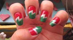 Christmas lightning bolt nails :)!!