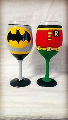 These Batman and Robin wine glasses make a perfect team.