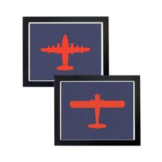 Vintage Looking Airplane Artwork - Red on a Blue Background    This listing includes TWO PRINTABLE art print 8x10 inches, 300 DPI. Your