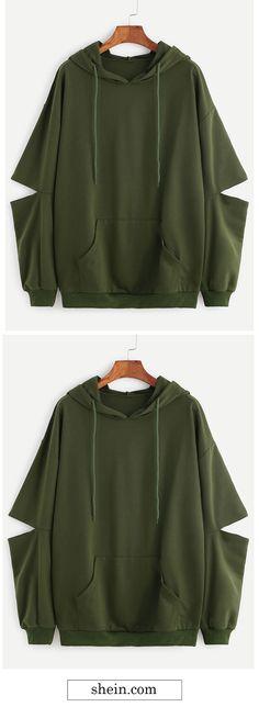 Shop Army Green Drop Shoulder Elbow Cutout Hooded Pocket Sweatshirt at ROMWE, discover more fashion styles online. Fashion Killa, Look Fashion, Teen Fashion, Autumn Fashion, Fashion Outfits, Mode Inspiration, Mode Outfits, Sweater Jacket, Hoodies