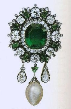 Queen Margherita's Emerald And Pearl Brooch