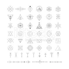 Set of vector trendy geometric icons. Religion, philosophy, spirituality, occultism - buy this vector on Shutterstock & find other images. Geometric Triangle Tattoo, Geometric Symbols, Geometric Heart, Triangle Tattoos, Geometric Logo, Dreieckiges Tattoos, Mini Tattoos, Body Art Tattoos, Tribal Tattoos