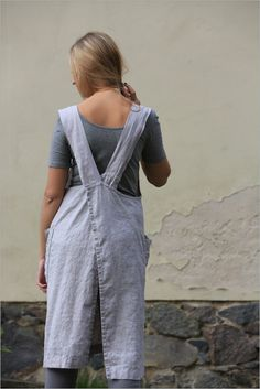 783946dc395 Linen pinafore dress   Original pinafore apron   Linen Square-Cross Apron    linen tunic   Japanese style Apron   cross back apron