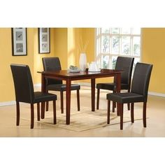 Hazelwood Home Five Piece Faux Leather Dinette Set in Brown by Home Source Industries. $467.24. 200-6223-5 Features: -Wood. Includes: -Set includes one table and four side chairs. Options: -Chairs upholstered in faux leather. Color/Finish: -Brown finish. Assembly Instructions: -Assembly required.