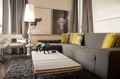 Modern Living room Grey and Yellow decor Cream Living Rooms, Living Room Grey, Living Room Modern, Living Room Carpet, Living Room Designs, Living Room Decor, Small Living, Living Area, Dining Room