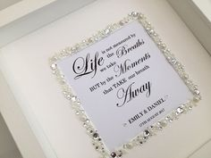 Personalised wedding box frame with a beautiful meaningful quote