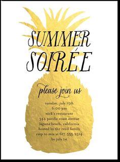 pineapple theme pool party invitation