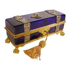 "10 ¾""  Grandest Antique French Cobalt Casket Hinged Box"