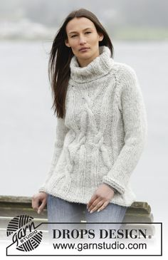 "#Knit jumper with cables and raglan in ""Cloud"""