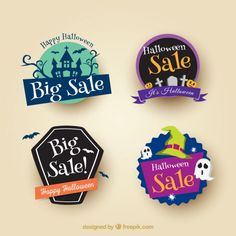 Four-pack sale halloween stickers Free Vector