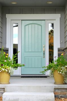 Front Door Paint Colors - Want a quick makeover? Paint your front door a different color. Here a pretty front door color ideas to improve your home's curb appeal and add more style! Front Door Paint Colors, Painted Front Doors, Exterior Paint Colors, Exterior House Colors, Exterior Doors, Paint Colours, Turquoise Paint Colors, Exterior Design, Outdoor House Colors