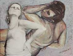 Art, collage on canvas (oil, pencils, oil pastels) A2 size, by fine artist Satu Laaninen 2015