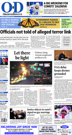 The front page for Tuesday, Feb. 10, 2015: Officials not told of alleged terror link