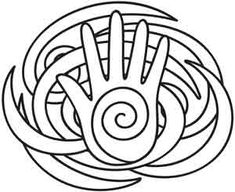 A hand and purple spirals celebrate the element of spirit