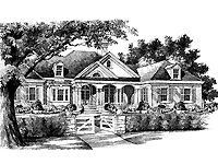 Oak Hill Lane from The Southern Living (HWBDO56036) | Colonial House Plan from BuilderHousePlans.com