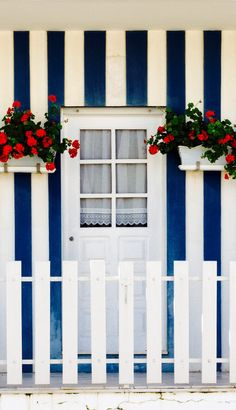 Cottage door in Costa Nova, Portugal. Grand Entrance, Entrance Doors, Doorway, Old Doors, Windows And Doors, Cottage Door, The Door Is Open, When One Door Closes, Painted Doors