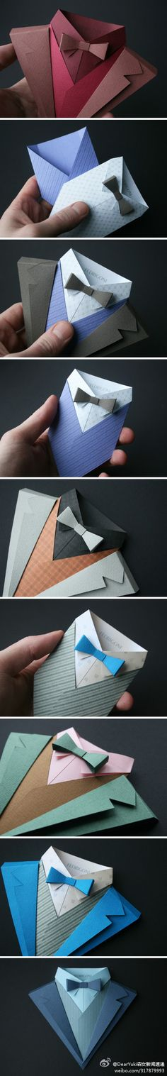 origami shirt collar, packaging card gift wrap
