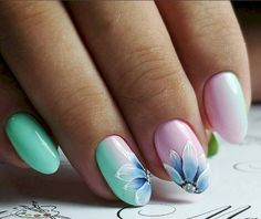 Nail Art Colors and Style for Summer - Nails C Flower Nail Designs, Nail Art Designs, Perfect Nails, Gorgeous Nails, Spring Nails, Summer Nails, Cute Nails, Pretty Nails, Latest Nail Art