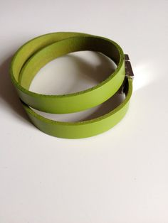 Green Leather Bracelet with Magnet Clasp by LittleGemsByLuisa