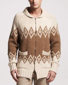 Tribal-Pattern Zip Sweater by Maison Martin Margiela at Bergdorf Goodman.