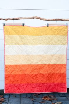 Yellow to Orange Ombre Modern Baby Quilt by lifeincolor on Etsy, $85.00