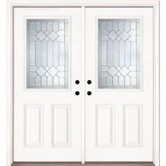 Feather River Doors 74 in. x 81.625 in. Mission Pointe Zinc 1/2 Lite Unfinished Smooth Fiberglass Double Prehung Front Door-882190-400 - The Home Depot