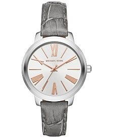 Michael Kors Women's Hartman Gray Leather Strap Watch 38mm MK2479