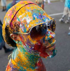 A reveller poses for a photo during Jouvert celebrations, or 'daybreak celebrations' in the capital city Port of Spain. Revellers bathe themselves in chocolate, mud, oil and paint as they depict devils, demons, monsters and imps during the celebrations, which marks the start of the two-day #Trinidad and #Tobago #Carnival street parade.