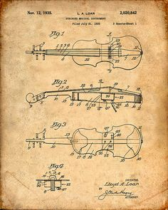 Patent Print of a Violin Patent Art Print Patent by VisualDesign Visual Design, Wall Art Prints, Poster Prints, Violin Art, Blueprint Art, Patent Drawing, 3d Models, Patent Prints, Chalkboard Art
