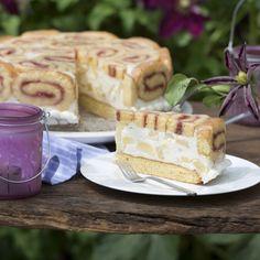 Ananas-Biskuitrollen-Torte