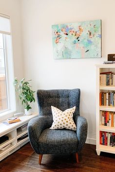 "The Mod blue berry armchair is where you go to unwind, unplug, and relax. Others will try to occupy ""your chair,"" delighting in the strong back, deep seat, and curved arms of this beautiful blue accent chair. Photo by @dwelltheory. #LivingRoom #LivingRoomFurniture #LoungeChair #InteriorInspo #InteriorDesign Interior Design Living Room, Blue Accent Chairs, Lounge Chair, Bedroom Interior, Chair, Interior Design, Blue Armchair, Home Decor, Living Room Furniture"