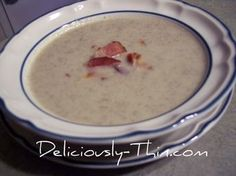 Cauliflower & Bleu Cheese Soup - make it lighter and South Beach friendly by using reduced fat bleu cheese.  Use real bacon!!!  Turkey Bacon has just as many calories as awesome regular bacon but none of the awesome flavor.  No More FACON!