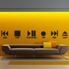 Wall decal Play and stop